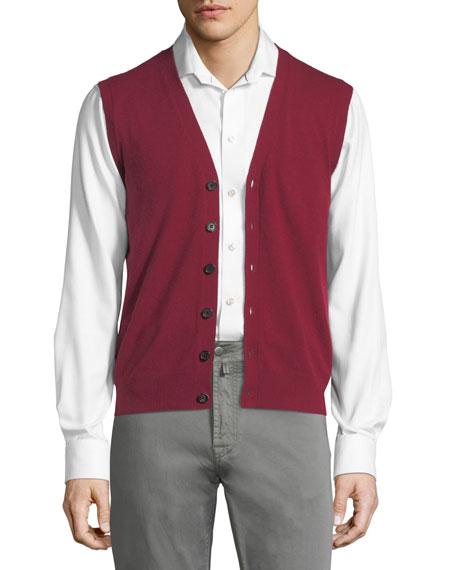 Cashmere V-Neck Cardigan Vest