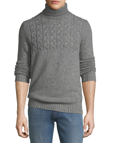 Mixed Cable-Knit Cashmere-Blend Turtleneck