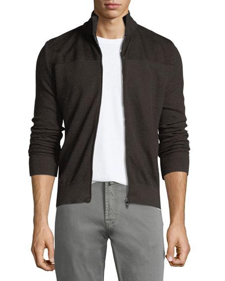 Suede-Yoke Cashmere-Silk Zip-Front Sweater