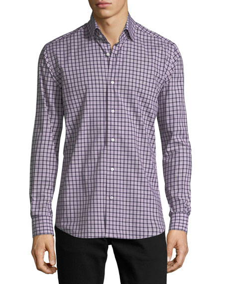 Neiman Marcus Plaid Long-Sleeve Sport Shirt