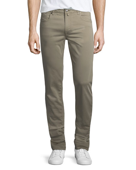 Neiman Marcus Stretch-Cotton Five-Pocket Pants, Khaki