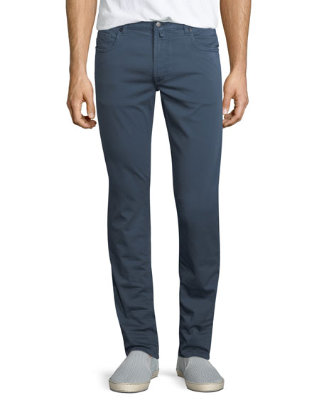 Stretch-Cotton Five-Pocket Pants, Dark Gray