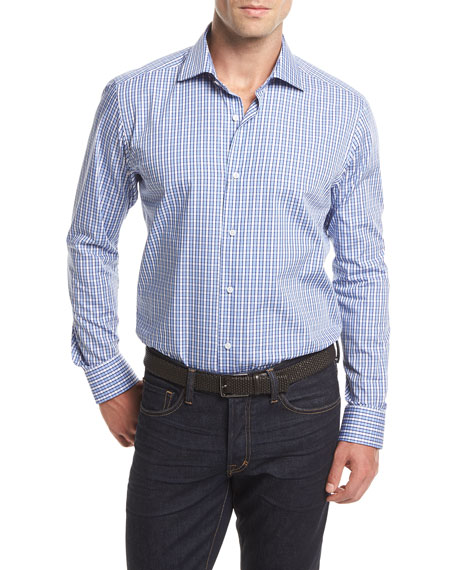 Small Check Long-Sleeve Sport Shirt, White/Blue
