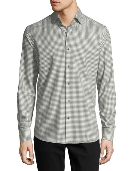 Neiman Marcus Gingham Long-Sleeve Sport Shirt, Ivory/Gray