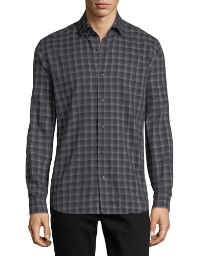 Multi-Striped Sport Shirt, Black/Gray