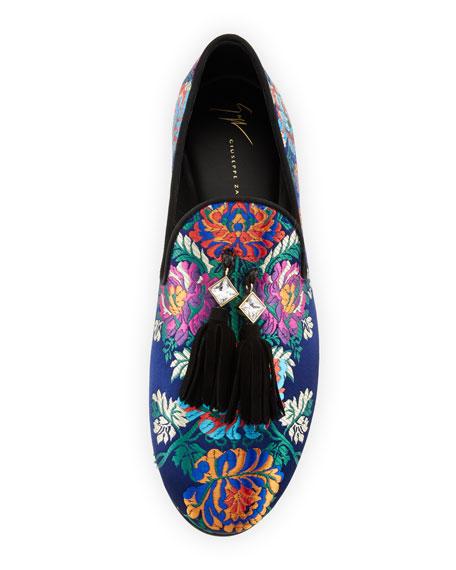 Floral Embroidered Tassel Loafer