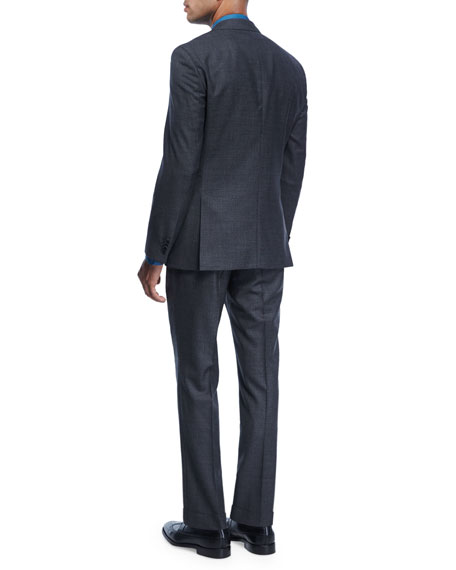 Birdseye Melange Wool Three-Piece Suit