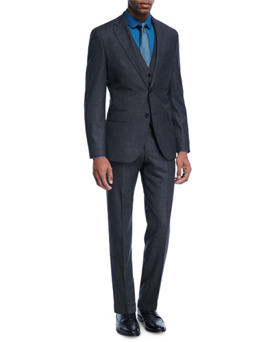 Birdseye Melange Wool Three-Piece Suit