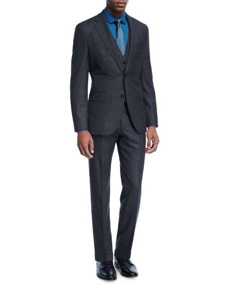 BOSS Birdseye Melange Wool Three-Piece Suit