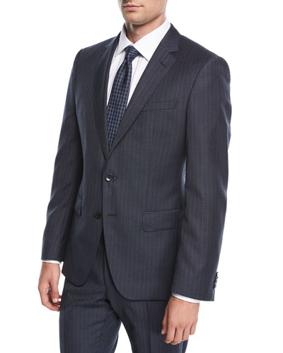 Pinstripe Wool Two-Piece Suit