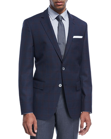 BOSS Windowpane Check Wool Sport Coat