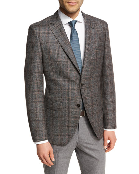 BOSS Windowpane Check Wool Two-Button Sport Coat