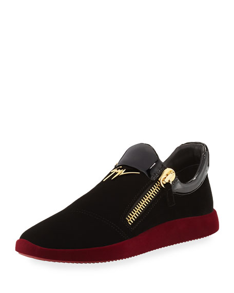 Giuseppe Zanotti Men's Velvet & Patent Leather Trainer