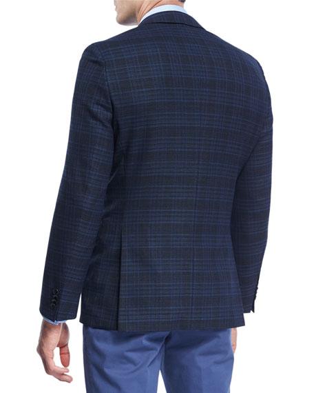 Plaid Hopsack Stretch-Wool Sport Coat