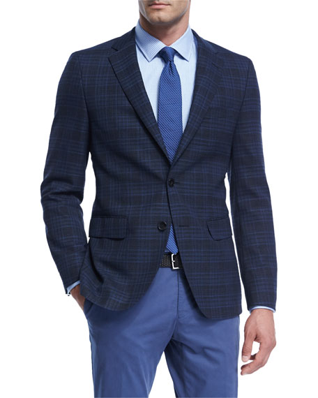 Plaid Hopsack Stretch-Wool Sport Coat