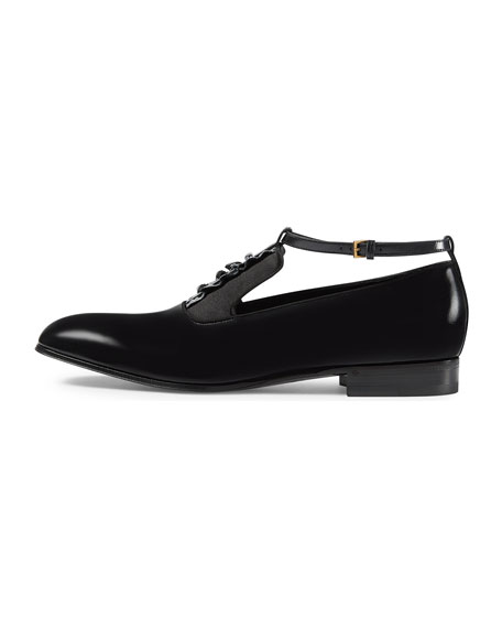 Leather Shoe with Ankle Strap