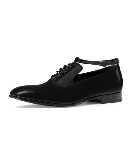 Gucci Leather Shoe with Ankle Strap