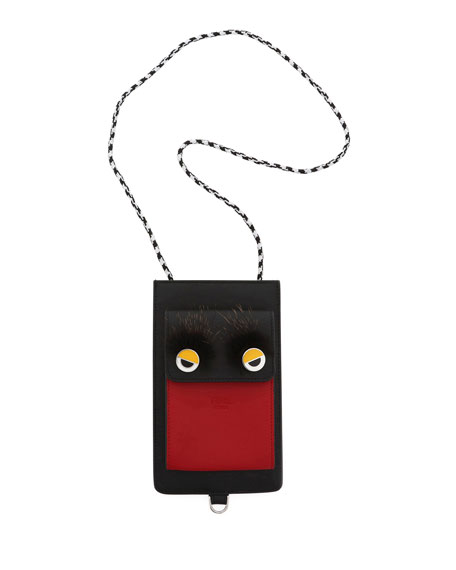 Fendi Runway Leather Phone Case, Black