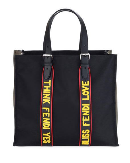 Men's Vocabulary Nylon & Leather Tote Bag