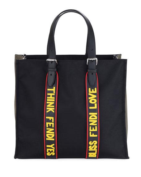 Fendi Men's Vocabulary Nylon & Leather Tote Bag