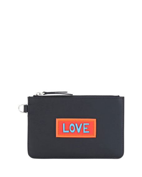 Fendi Love Vocabulary Leather Coin Pouch