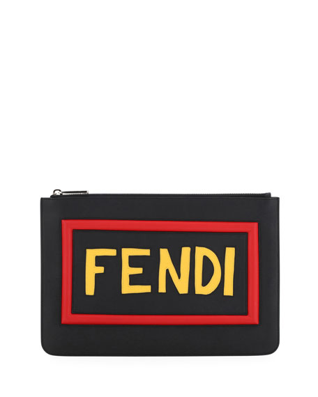 Fendi Think Vocabulary Leather Pouch