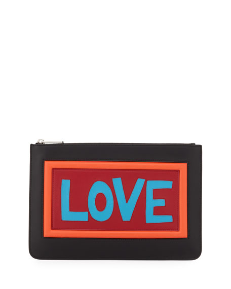 Fendi Love Vocabulary Leather Pouch