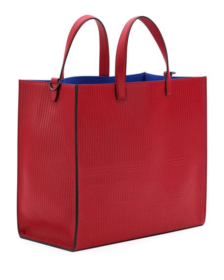 Optic Stripe Leather Tote Bag