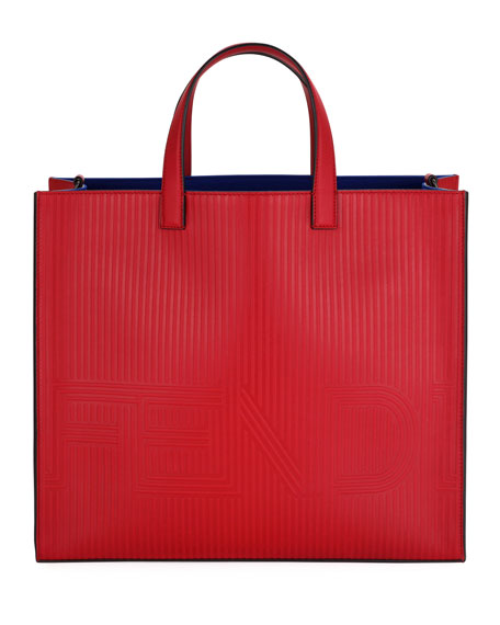 Fendi Optic Stripe Leather Tote Bag