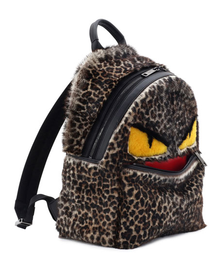 Jaguar-Print Fur Monster Backpack