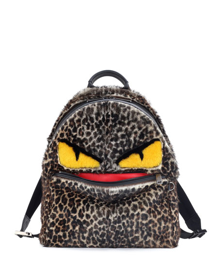 Fendi Jaguar-Print Fur Monster Backpack