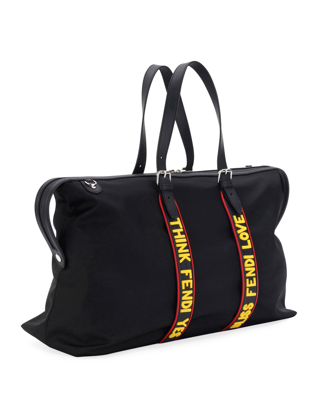... spain fendi vocabulary nylon leather travel duffel bag neiman marcus  bab3e 1133d 3835a812d2137