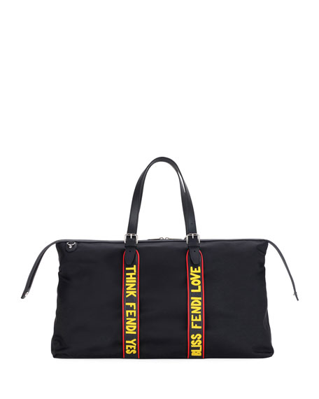 Fendi Vocabulary Nylon & Leather Travel Duffel Bag