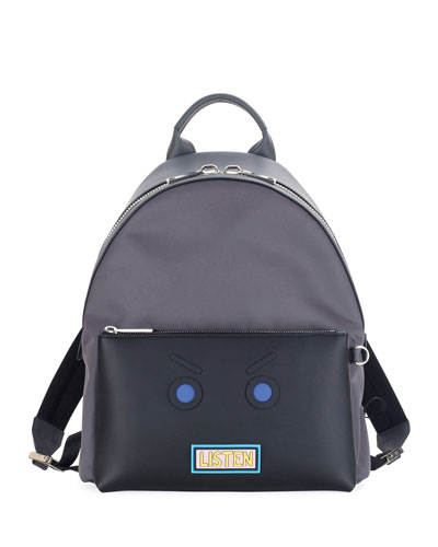 Vocabulary & Faces Leather Backpack