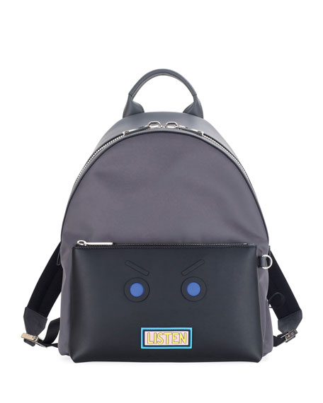 Fendi Vocabulary & Faces Leather Backpack