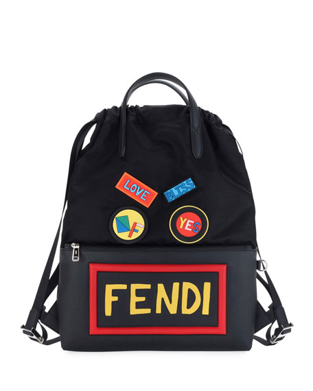 Fendi Vocabulary & Faces Nylon & Leather Tote
