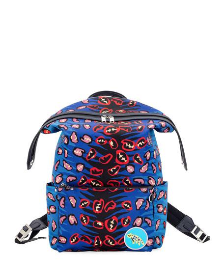 Fendi Jaguar Nylon & Leather Backpack
