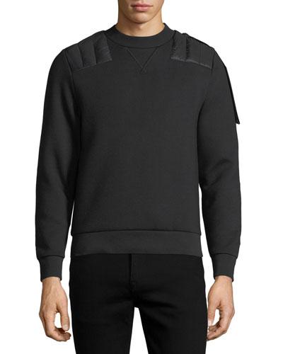 Quilted-Trim Sweatshirt