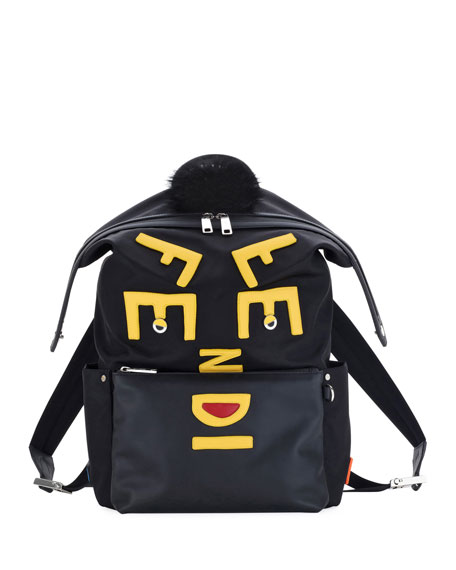 Fendi Vocabulary Monster Nylon & Leather Backpack