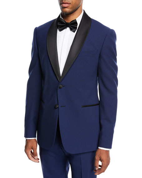 Two-Piece Tuxedo with Satin Peak Lapel, Blue