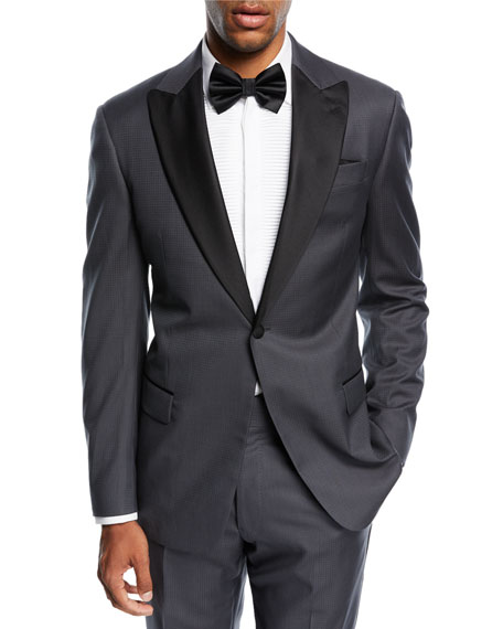 Armani Collezioni Tonal Dot-Print Two-Piece Tuxedo