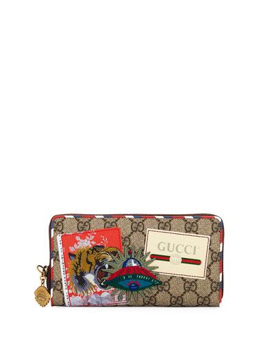 Gucci Courier GG Supreme Zip Around Wallet