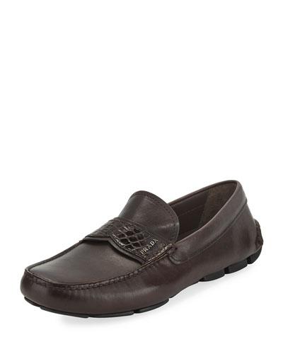 Crocodile-Trim Leather Moccasin