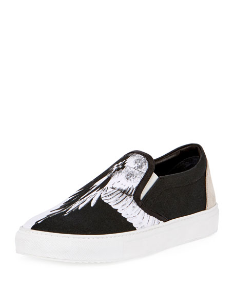 Marcelo Burlon Aish Wing-Print Canvas Slip-On Sneaker