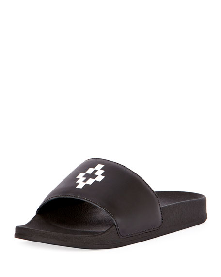Marcelo Burlon Bai Leather Pool Slide Sandal