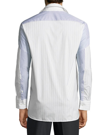 Pieced Patchwork Striped Sport Shirt, Multi