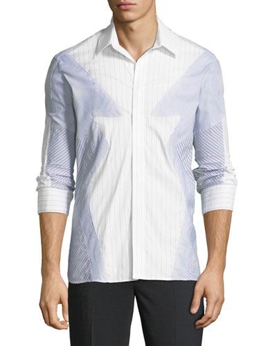 Pieced Patchwork Striped Sport Shirt, Multi