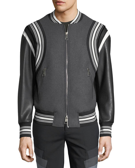 Wool Varsity Bomber Jacket w/ Faux-Leather Sleeves