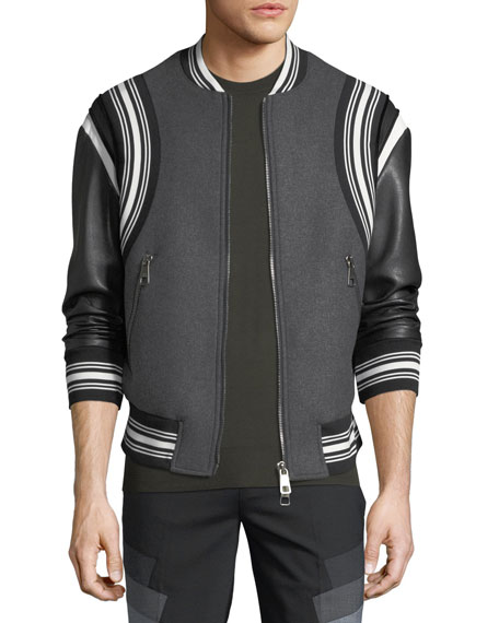 Neil Barrett Wool Varsity Bomber Jacket w/ Faux-Leather