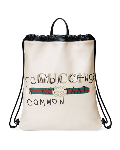 Gucci-Print Leather Drawstring Backpack, White
